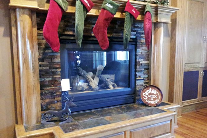 fireplace with stockings