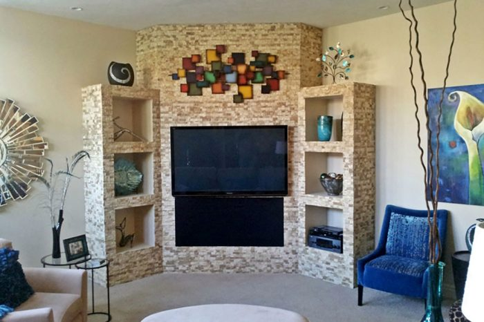 detailed tiled fireplace